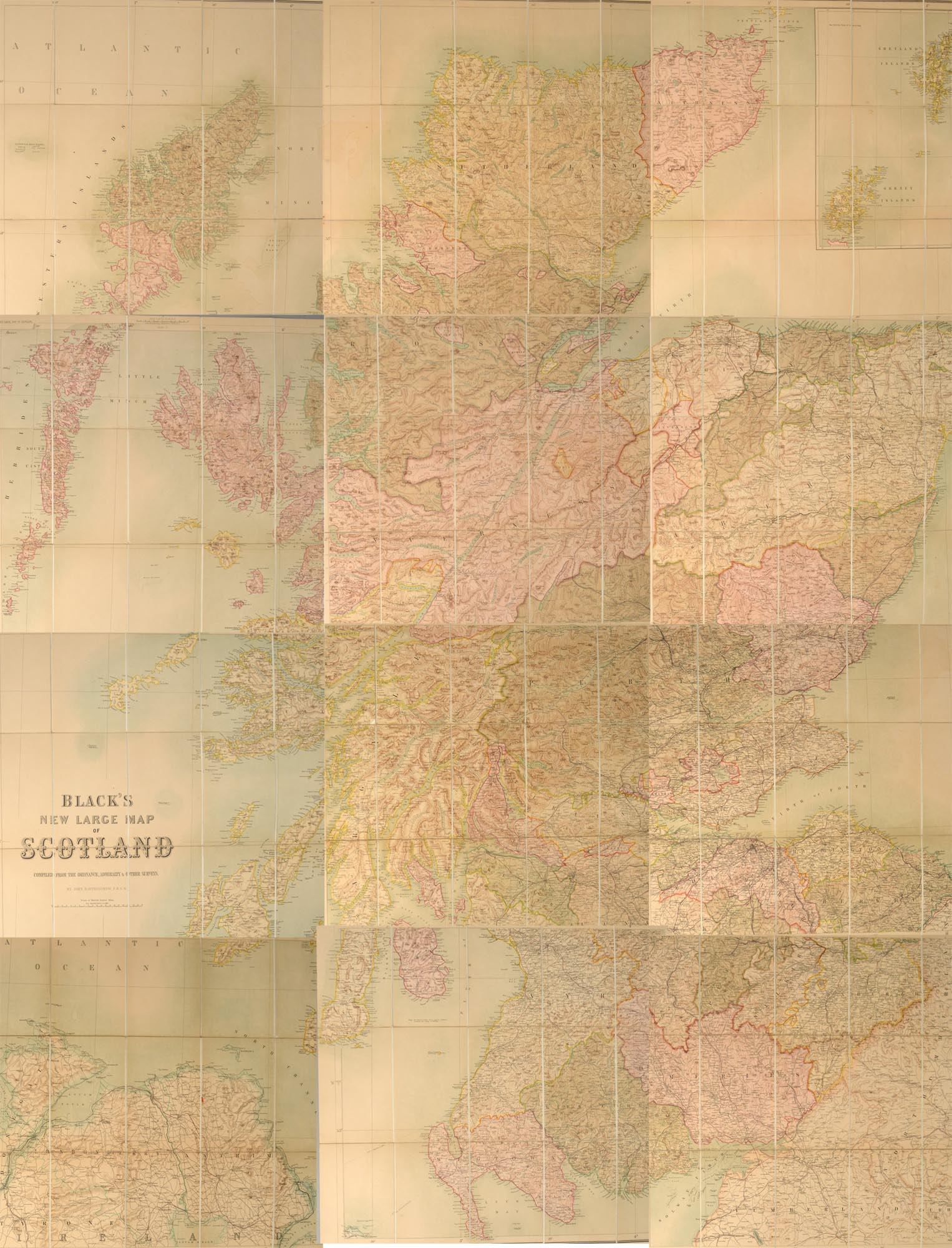 BLACK, ADAM AND CHARLES, PUBLISHERS - Black's New Large Map of Scotland