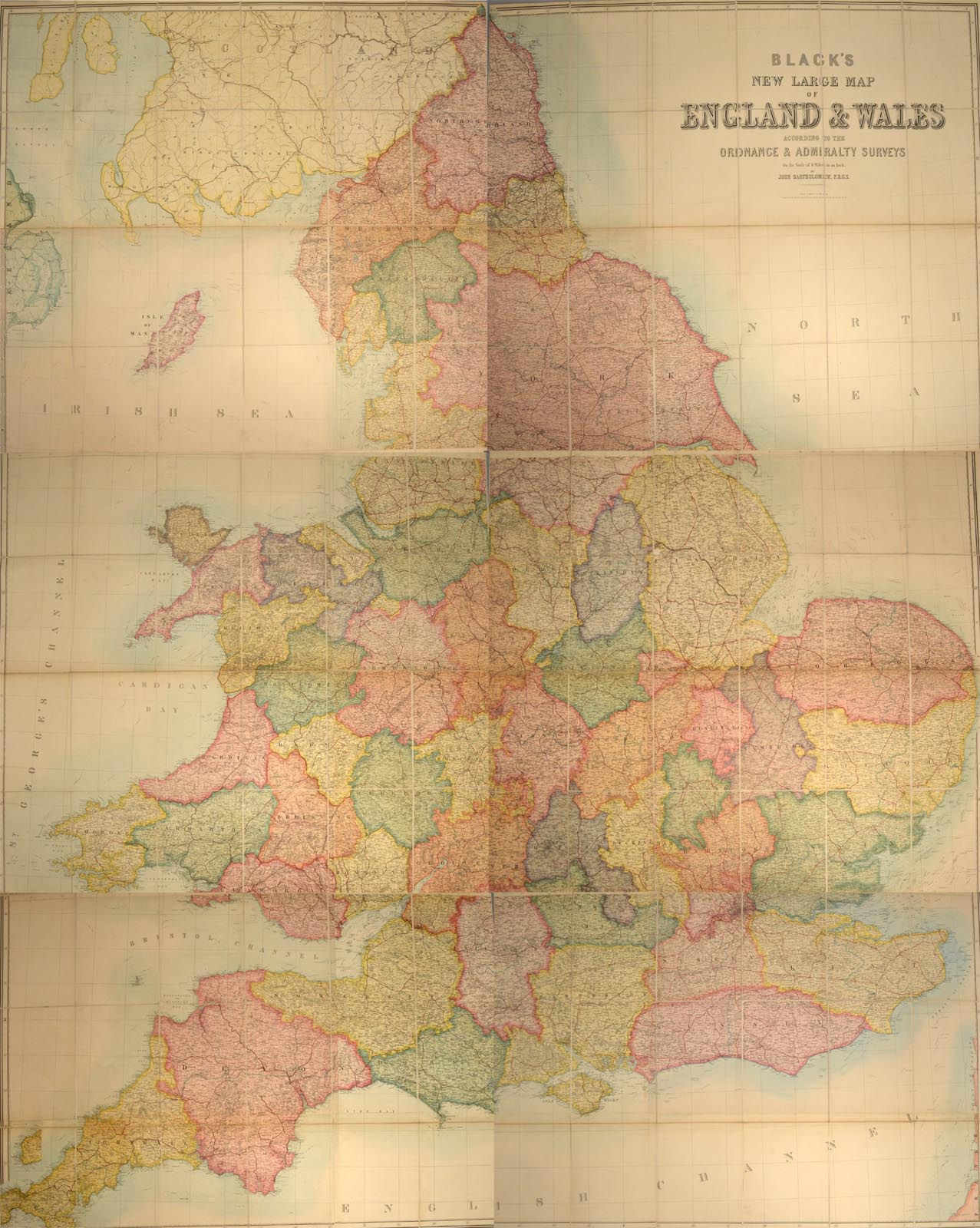 BLACK, ADAM AND CHARLES, PUBLISHERS - Black's New Large Map of England and Wales