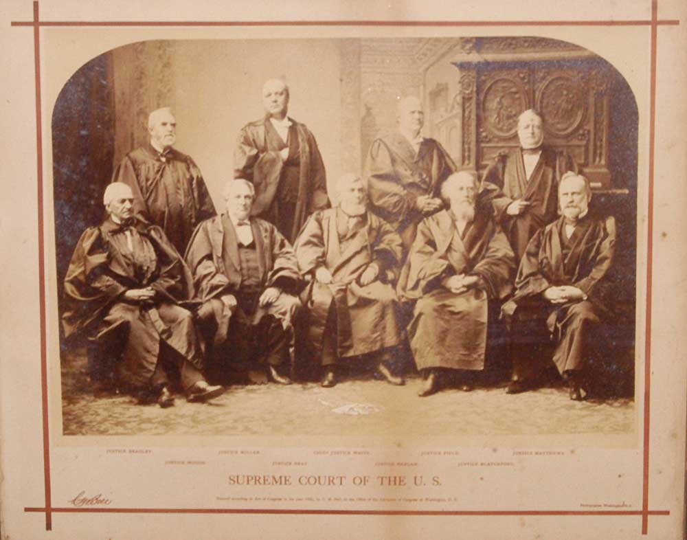 BELL, C. M. - Oversize Photograph: Group Portrait of Supreme Court Justices, 1882