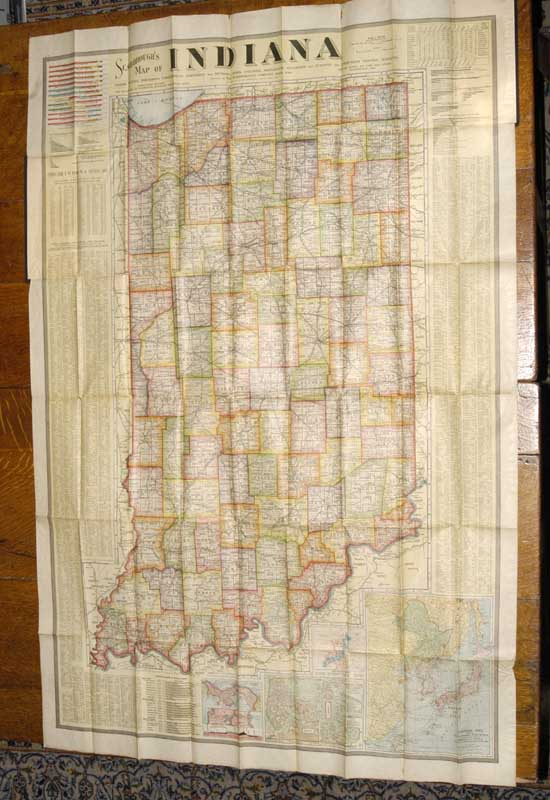 SCARBOROUGH COMPANY - Large Color Folding Map of Indiana, 1904