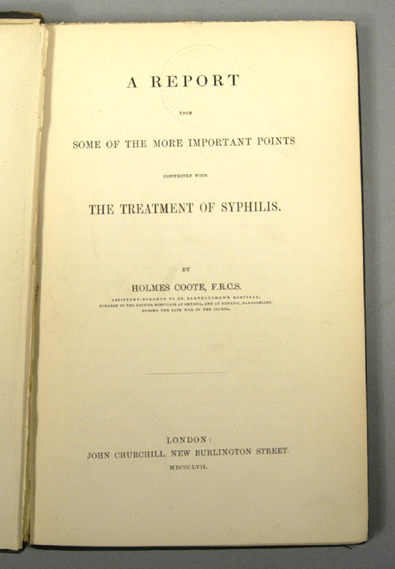 COOTE, HOLMES - Some of the More Important Points Connected with the Treatment of Syphilis