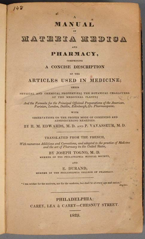 EDWARDS, H. M. - Manual of Materia Medica and Pharmacy: Comprising a Concise Descriptio