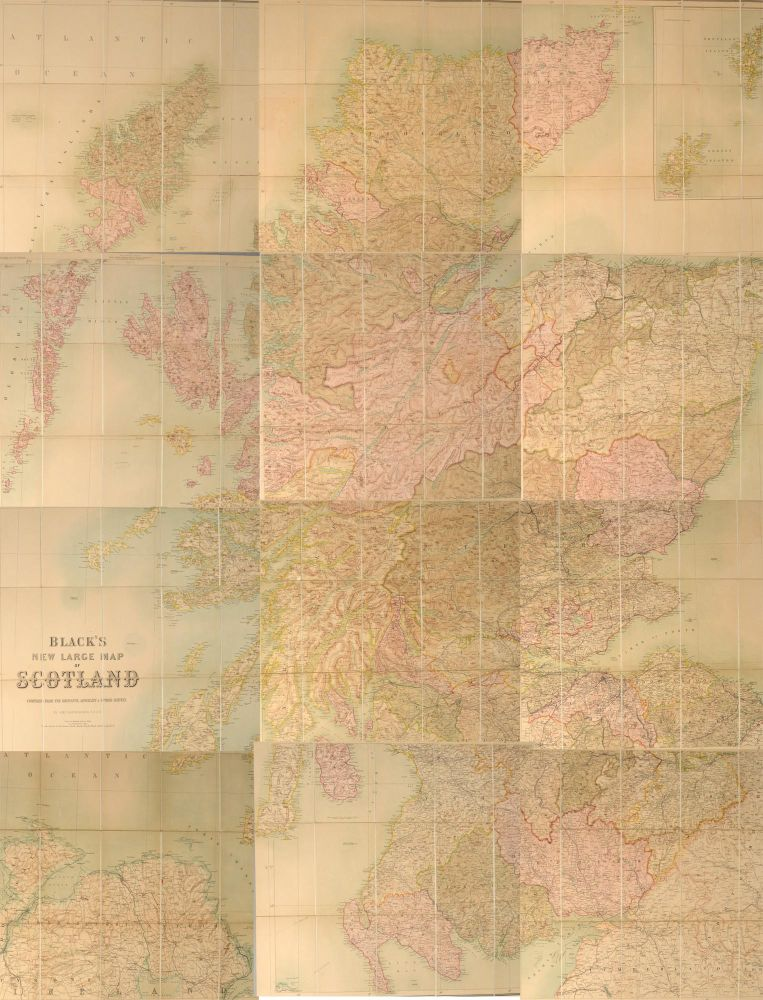 BLACK'S NEW LARGE MAP OF SCOTLAND. Adam BLACK, Publishers Charles.