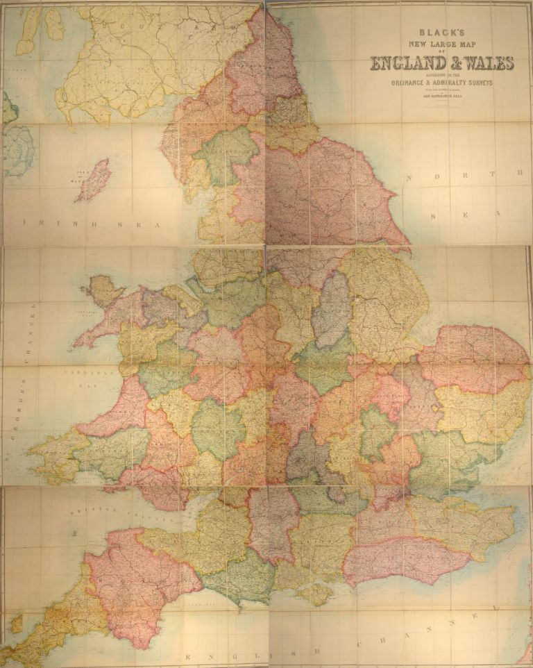 BLACK'S NEW LARGE MAP OF ENGLAND AND WALES. Adam BLACK, Publishers Charles.