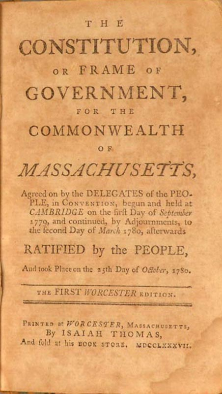 CONSTITUTION, OR FRAME OF GOVERNMENT, FOR THE COMMONWEALTH OF MASSACHU. Constitution of MASSACHUSETTS.