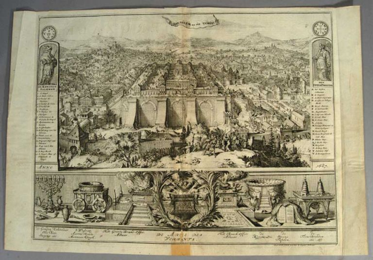 ENGRAVED BIRDS-EYE VIEW OF JERUSALEM. Romeyn DE HOOGHE.