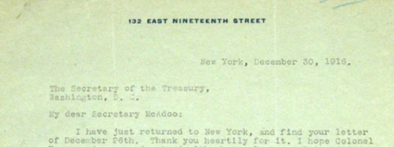 SIGNED LETTER TO SECRETARY OF THE TREASURY MCADOO, 1916. Ida M. TARBELL.