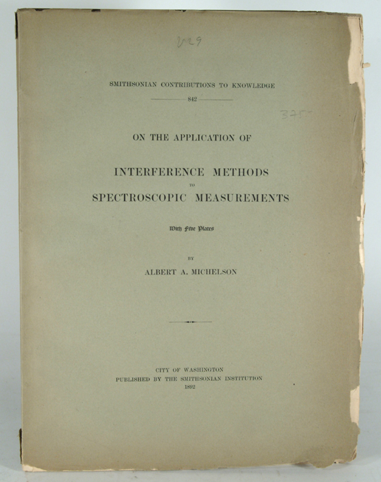 ON THE APPLICATION OF INTERFERENCE METHODS TO SPECTROSCOPIC. Albert A. MICHELSON.