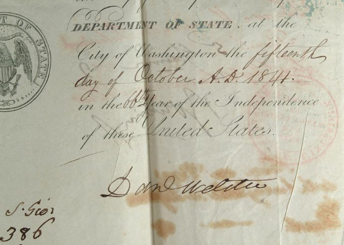 AMERICAN PASSPORT SIGNED BY DANIEL WEBSTER AND EDWARD EVERETT CA. 1841. Daniel WEBSTER.