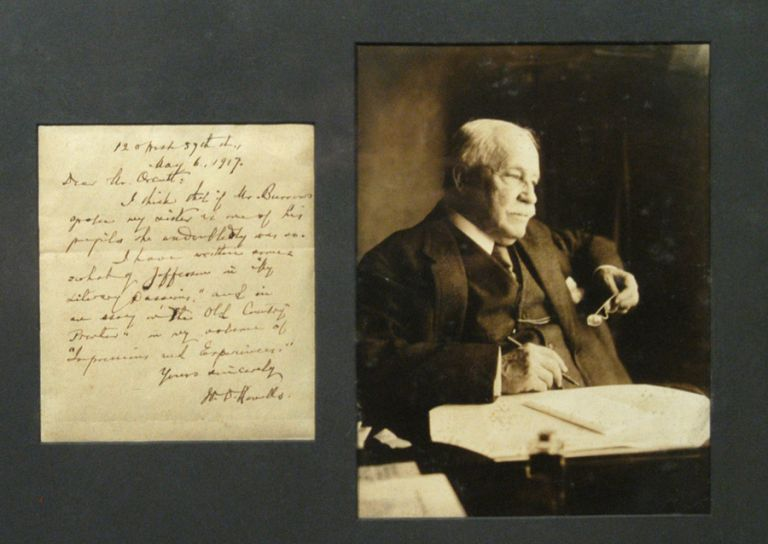 PHOTOGRAPH AND SIGNED MANUSCRIPT NOTE (1917), MATTED AND FRAMED. William Dean HOWELLS.