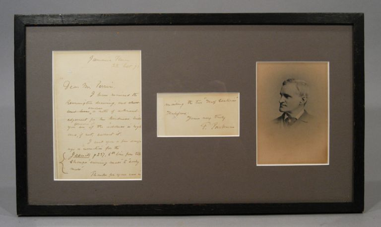 PHOTOGRAPH AND SIGNED MANUSCRIPT NOTE (1892), MATTED AND FRAMED. Francis PARKMAN.