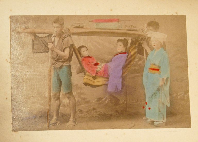 50 ALBUMEN OUTDOOR SCENES AND WOMEN. PHOTO ALBUM - JAPAN.