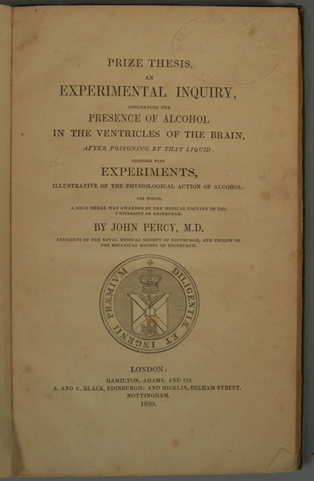 PRIZE THESIS. AN EXPERIMENTAL INQUIRY, CONCERNING THE PRESENCE OF. JOHN PERCY.