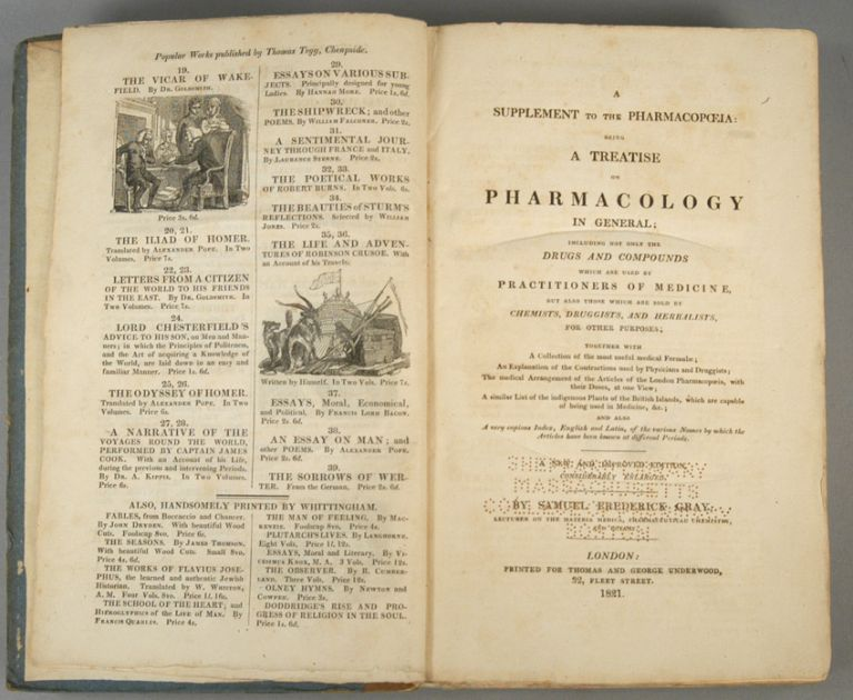 SUPPLEMENT TO THE PHARMACOPAEIA: BEING A TREATISE ON PHARMACOLOGY. Samuel Frederick GRAY.