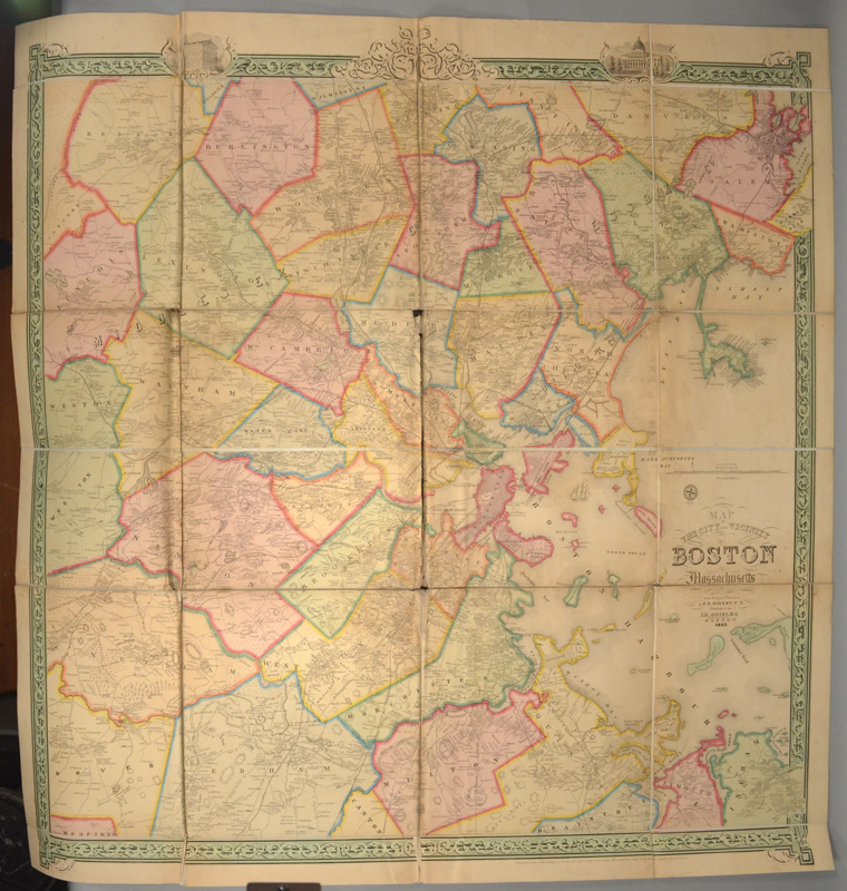 MAP OF THE CITY AND VICINITY OF BOSTON MASSACHUSETTS. J. C. SIDNEY.