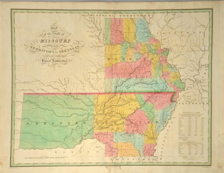 [MAP] MISSOURI AND THE TERRITORY OF ARKANSAS. Anthony FINLEY.