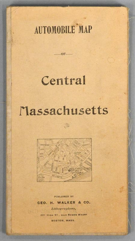 AUTOMOBILE MAP OF CENTRAL MASSACHUSETTS. WALKER LITHOGRAPH AND PUBLISHING COMPANY.