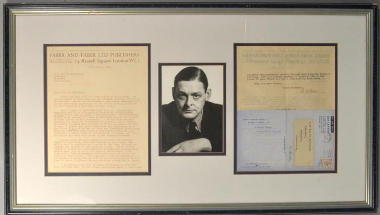 TYPED LETTER, SIGNED, ADDRESSED TO EVA LE GALLIENNE, DATED 27 MARCH. T. S. ELIOT.