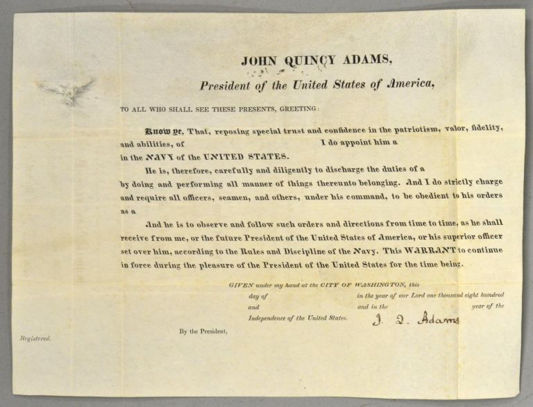 JOHN QUINCY ADAMS, President of the United States of America. John Quincy -- Autograph ADAMS.