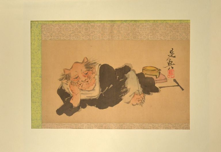 Large album leaf painting of an Oni. painter Shibata ZESHIN.