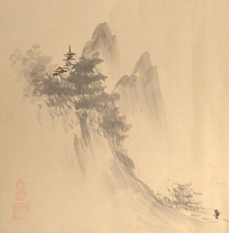 Seiko Hakkei 西湖八景. calligrapher Baikei Ri 梅渓李, painter Unkoku Tōyo 雲谷等與.