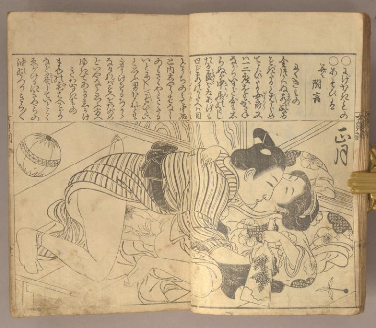 Onna Teikin Gosho Bunko 女庭訓御所文庫 and Onna Teikin Gesho Bunko 女貞訓下所文庫 [shunga volume, missing cover]. Settei Tsukioka 月岡雪鼎.
