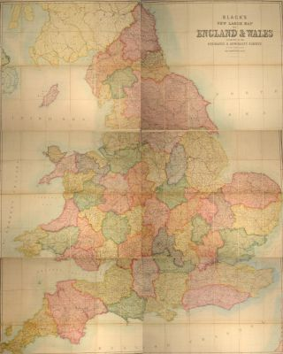 BLACK'S NEW LARGE MAP OF ENGLAND AND WALES. Adam BLACK, Publishers Charles