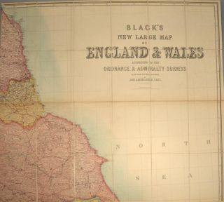 BLACK'S NEW LARGE MAP OF ENGLAND AND WALES