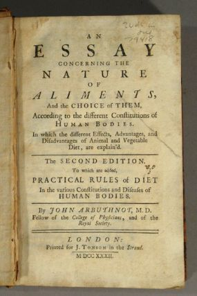 ESSAY CONCERNING THE NATURE OF ALIMENTS, AND THE CHOICE OF THEM