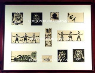 Framed collection of Woodcut Illustrations. artist ONCHI Kôshiro