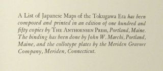 LIST OF JAPANESE MAPS OF THE TOKUGAWA ERA, + SUPPLEMENTS A, B & C