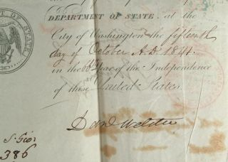 AMERICAN PASSPORT SIGNED BY DANIEL WEBSTER AND EDWARD EVERETT CA. 1841. Daniel WEBSTER