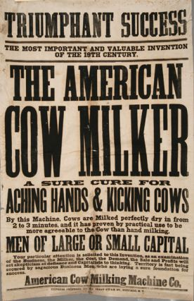 AMERICAN COW MILKER MACHINE POSTER, ORIGINAL, 19TH CENTURY EPHEMERA. AMERICANA.