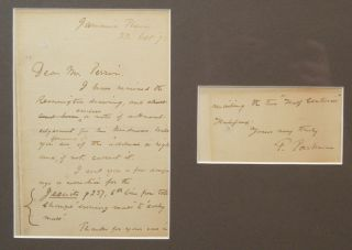 PHOTOGRAPH AND SIGNED MANUSCRIPT NOTE (1892), MATTED AND FRAMED