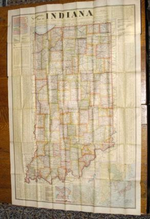 LARGE COLOR FOLDING MAP OF INDIANA, 1904. SCARBOROUGH COMPANY.