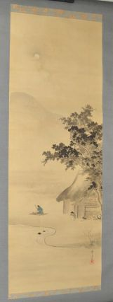 Painting on the Theme of a Mountain Cottage at Evening. KAKEMONO - HANGING SCROLL, art Kamisaka...