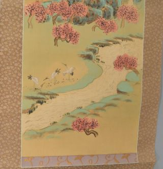 """MOMOHARA"" LANDSCAPE OF A MOUNTAIN STREAM, DANCING CRANES. KAKEMONO - HANGING SCROLL, art Tsuda..."