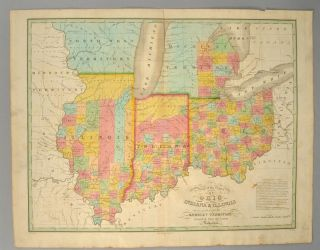 [MAP], OHIO, INDIANA AND ILLINOIS, AND PART OF THE MICHIGAN...