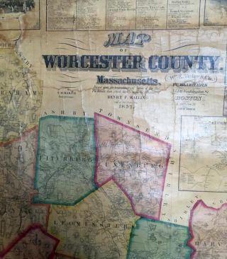 MAP OF WORCESTER COUNTY MASSACHUSETTS.